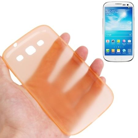 Schutzhülle Case Ultra Dünn 0,3mm für Handy Samsung Galaxy S3 i9300 / i9305 / S3 NEO i9301 Orange Transparent