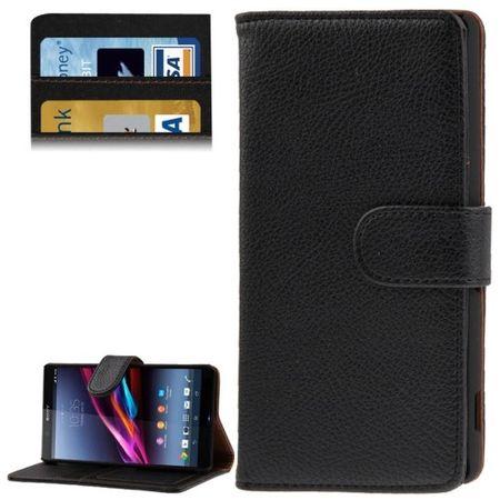 Handyhülle Flip Quer Tasche für Sony Xperia Z2 L50w schwarz