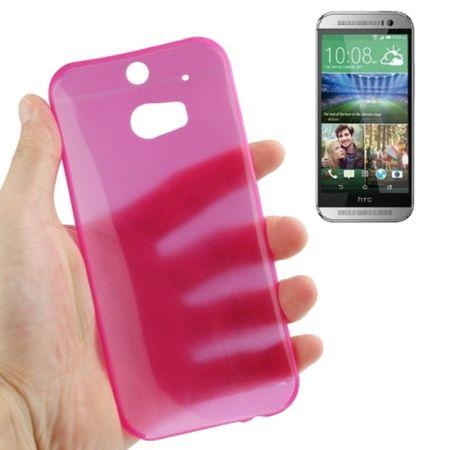 Schutzhülle Case Ultra Dünn 0,3mm für Handy HTC One M8 / M8s Pink Transparent