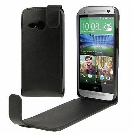 Schutzhülle Flip Tasche für Handy HTC One Mini 2 Schwarz