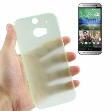 Schutzhülle Case Ultra Dünn 0,3mm für Handy HTC One M8 / M8s Grün Transparent