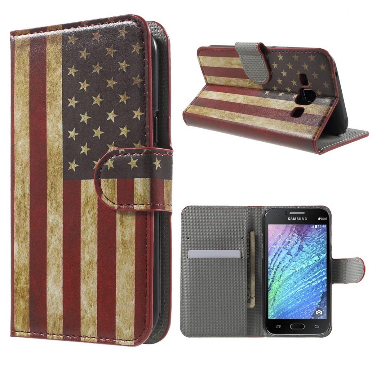 Handyhülle Tasche für Handy Samsung Galaxy J1 Retro Fahne USA
