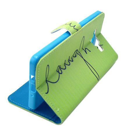 Handyhülle Tasche für Handy Samsung Galaxy A7 Schriftzug Laugh / Lachen Grün – Bild 5