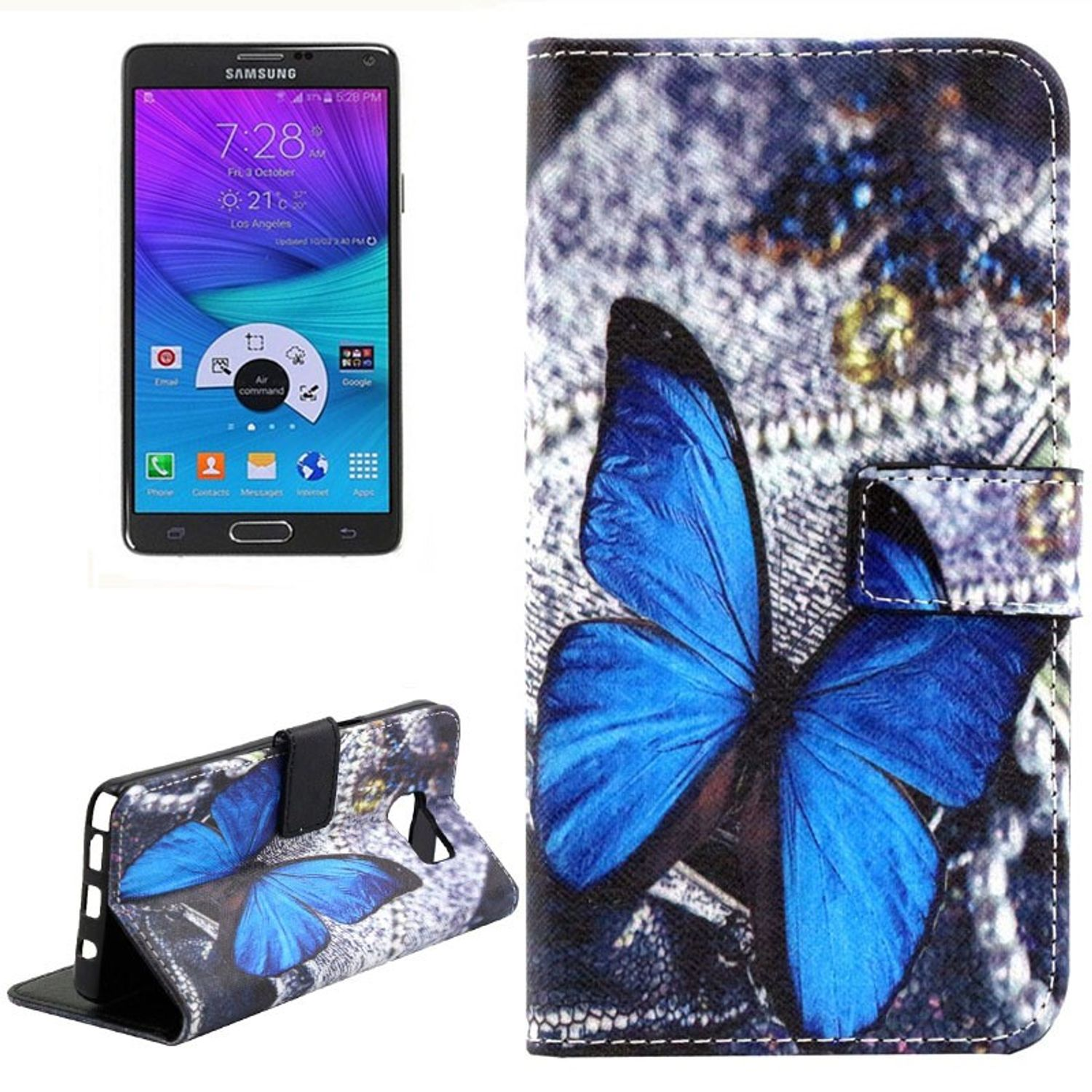 Handyhülle Tasche für Handy Samsung Galaxy Note 5 Blauer Schmetterling