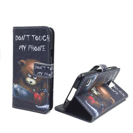 Handyhülle Tasche für Handy Samsung Galaxy S5 / S5 Neo Schriftzug Bär mit Kettensäge