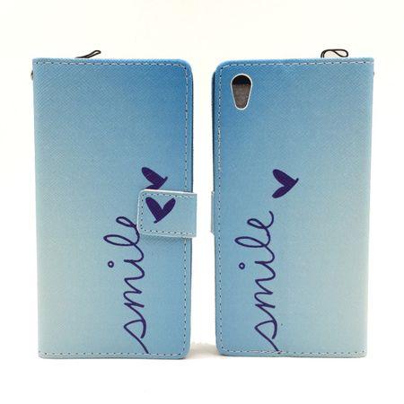 Handyhülle Tasche für Handy Sony Xperia Z5 Schriftzug Smile Blau – Bild 5