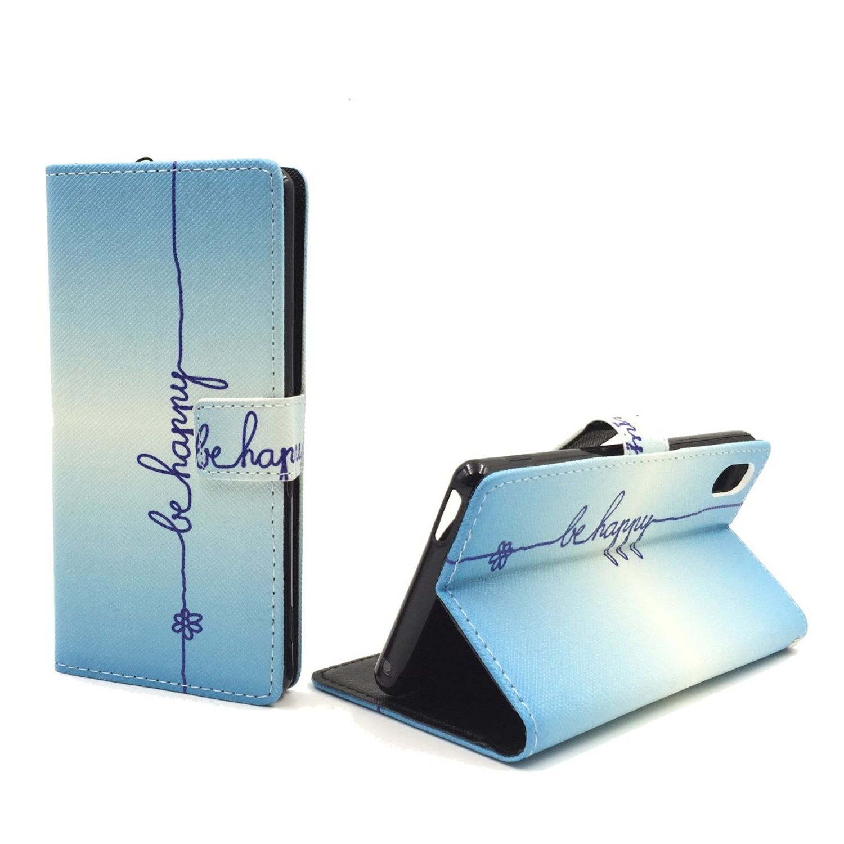 Handyhülle Tasche für Handy Sony Xperia M4 Aqua Schriftzug Be Happy Blau
