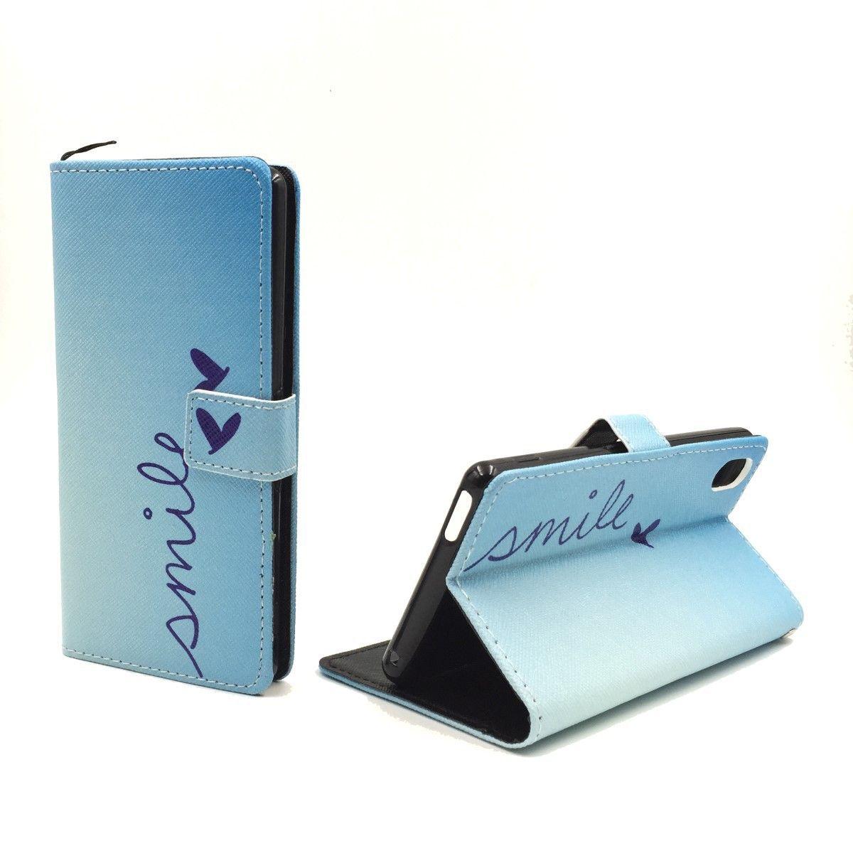 Handyhülle Tasche für Handy Sony Xperia M4 Aqua Schriftzug Smile Blau