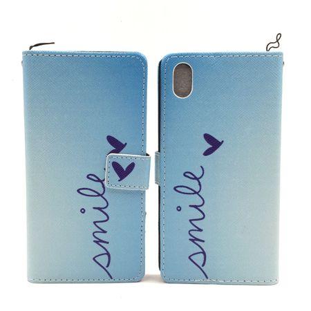 Handyhülle Tasche für Handy Sony Xperia M4 Aqua Schriftzug Smile Blau – Bild 5