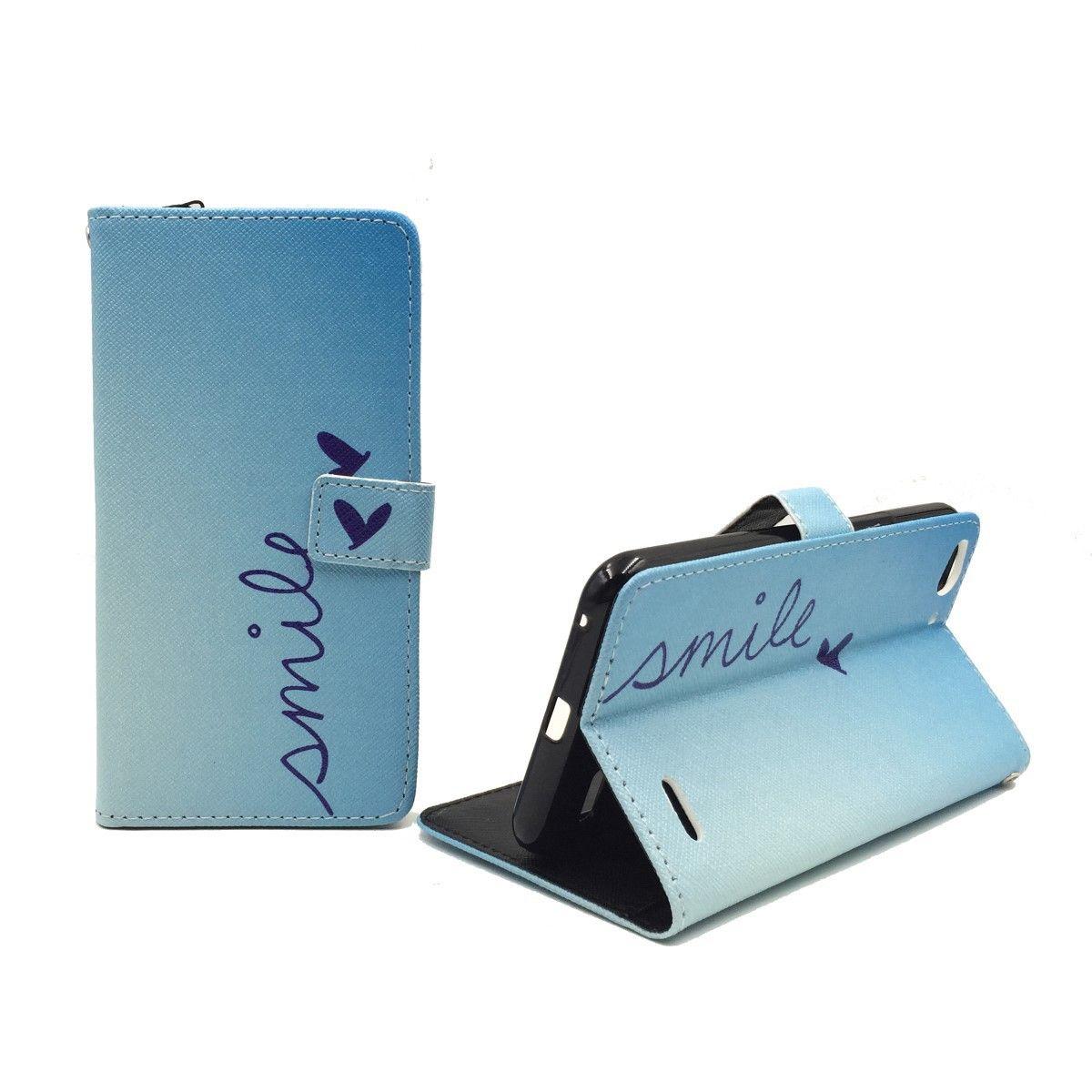 Handyhülle Tasche für Handy Vodafone Smart Ultra 6 Schriftzug Smile Blau