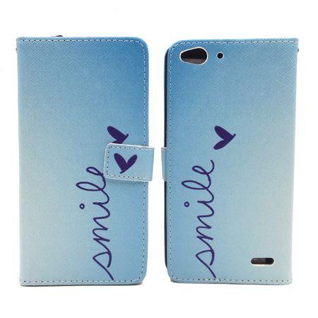 Handyhülle Tasche für Handy Vodafone Smart Ultra 6 Schriftzug Smile Blau – Bild 5