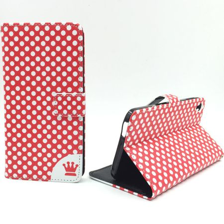 "Handyhülle Tasche für Handy Alcatel One Touch Idol 3 (5,5"") Polka Dot Rot"
