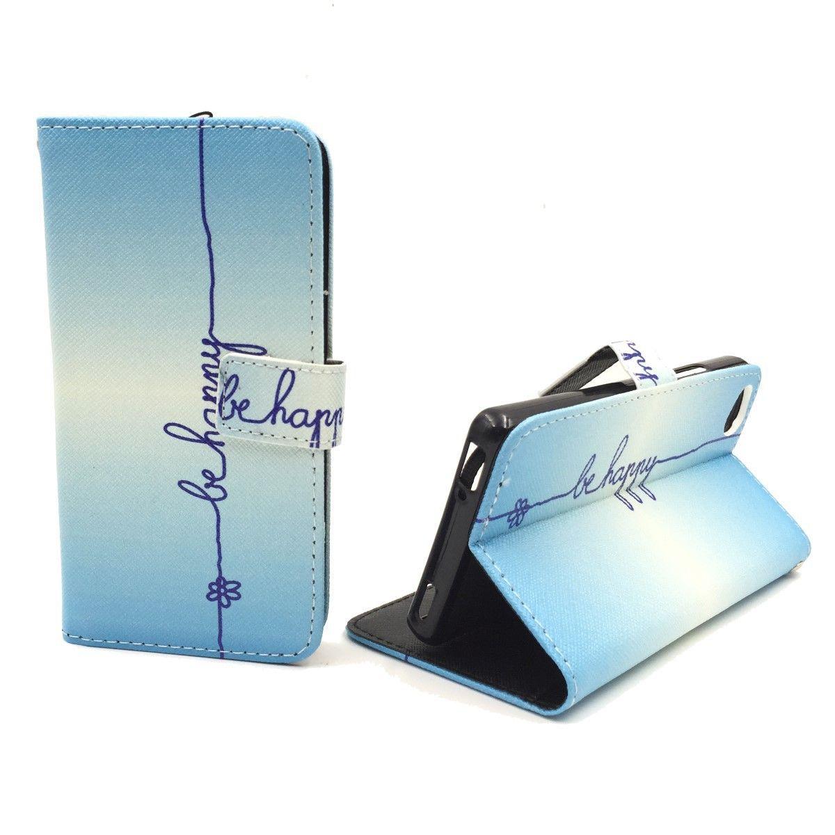 Handyhülle Tasche für Handy ZTE Nubia Z9 Mini Schriftzug Be Happy Blau
