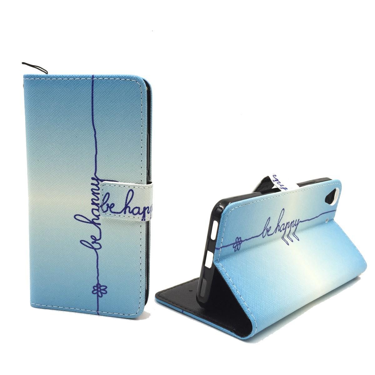 handyh lle tasche f r handy huawei y6 schriftzug be happy blau. Black Bedroom Furniture Sets. Home Design Ideas