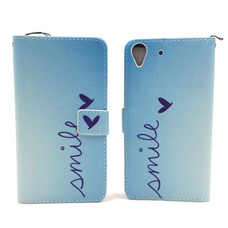 Handyhülle Tasche für Handy Huawei Y6 Schriftzug Smile Blau – Bild 5