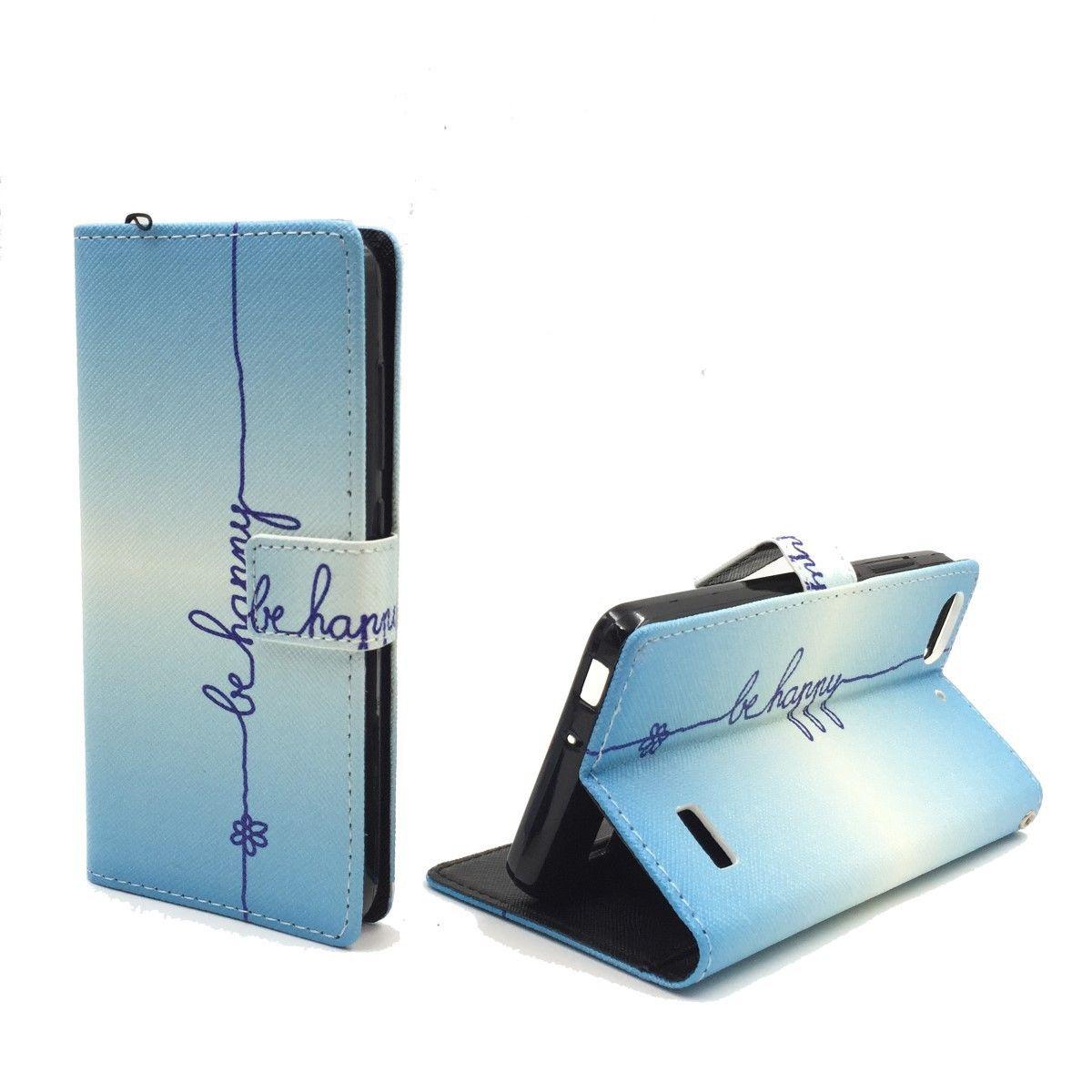Handyhülle Tasche für Handy Huawei G Play Mini Schriftzug Be Happy Blau
