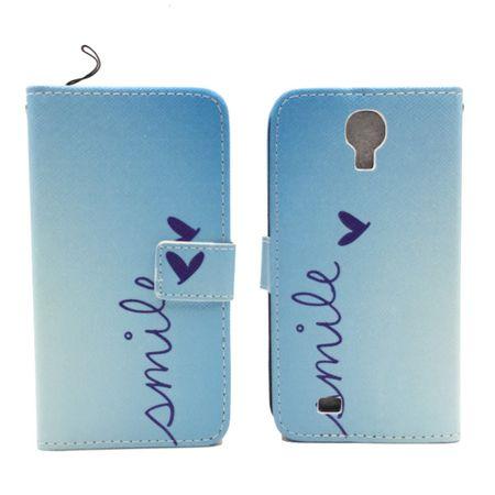 Handyhülle Tasche für Handy Samsung Galaxy S4 Schriftzug Smile Blau – Bild 2