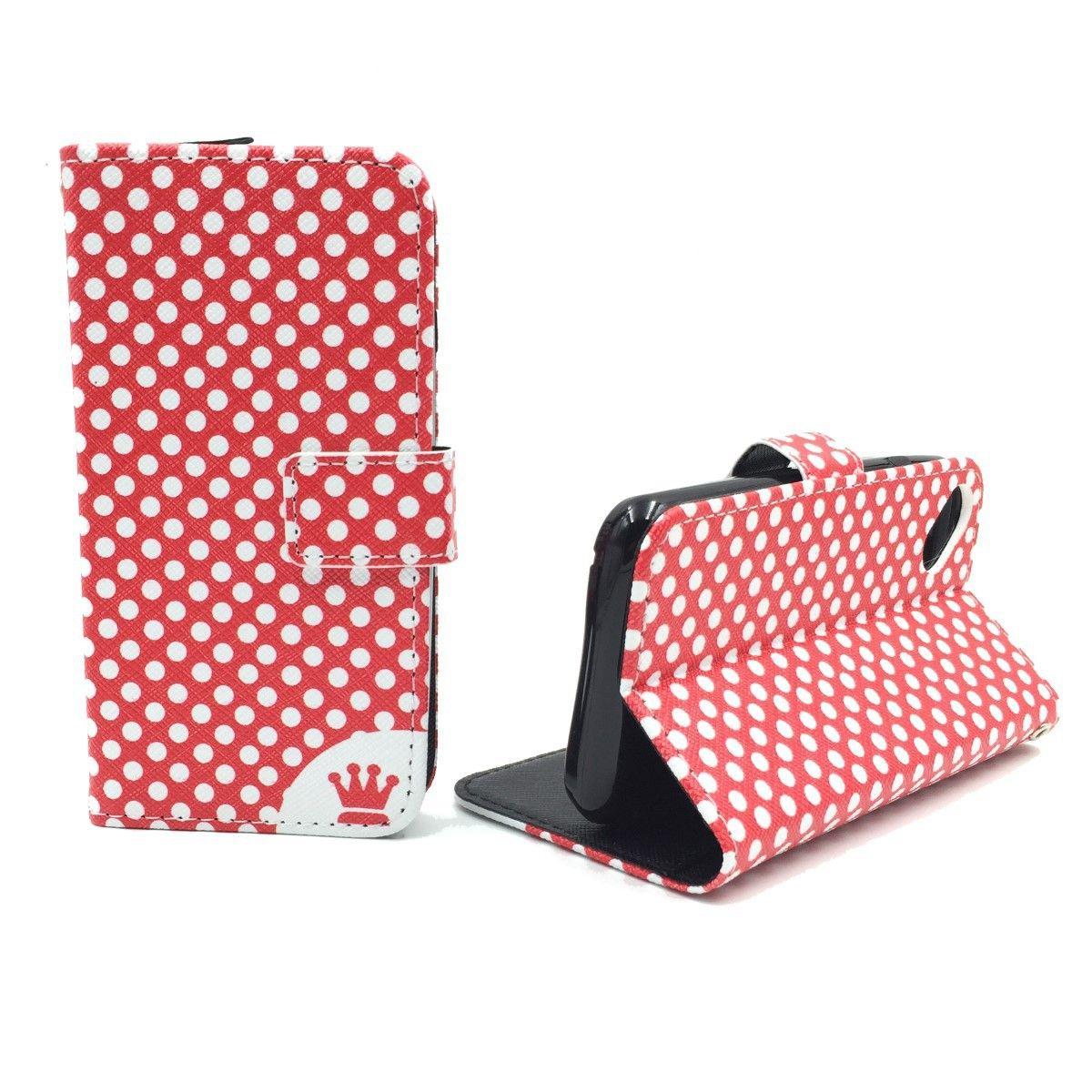 Handyhülle Tasche für Handy Wiko Sunset 2 Polka Dot Rot