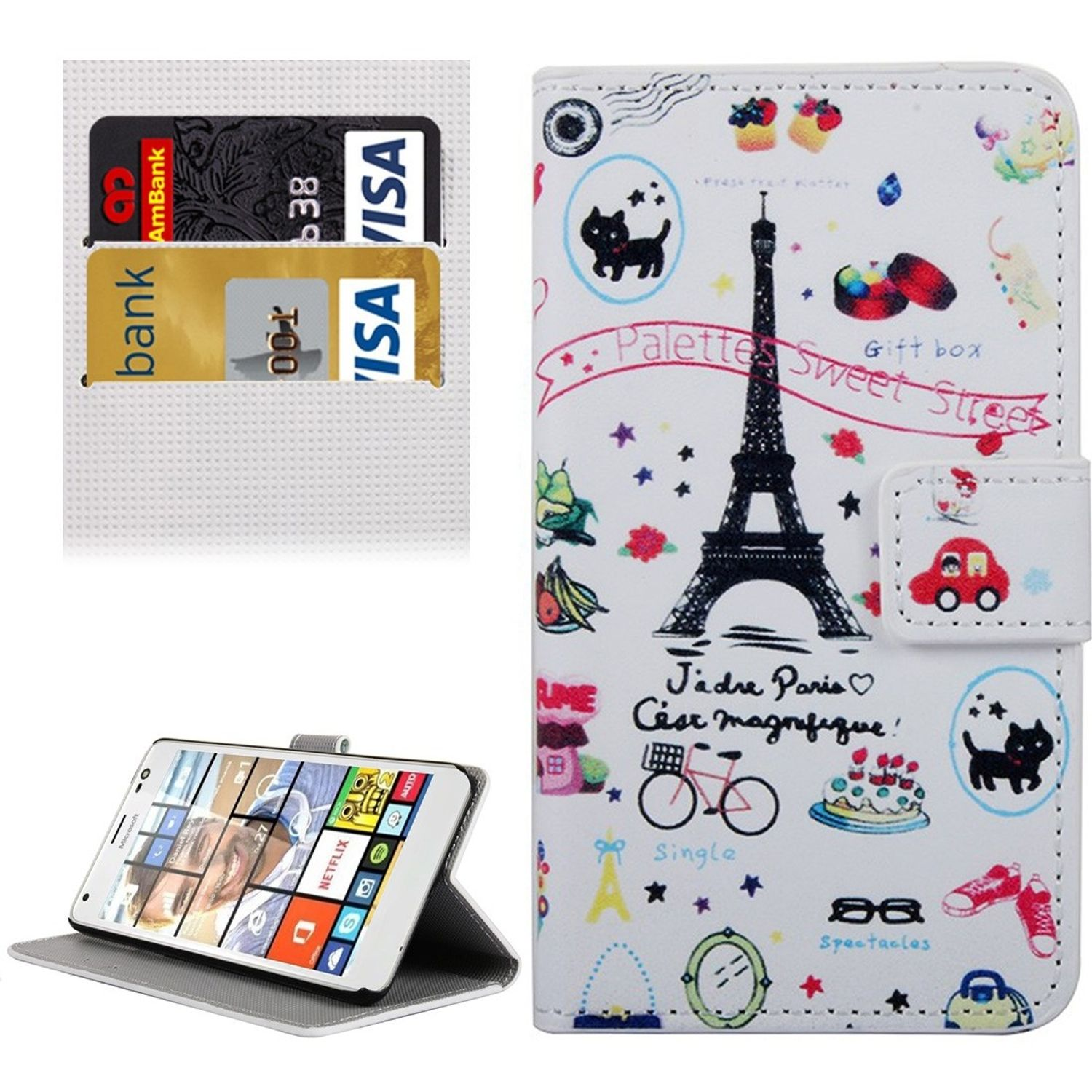 Handyhülle Tasche für Handy Microsoft Lumia 850 Eiffelturm Paris
