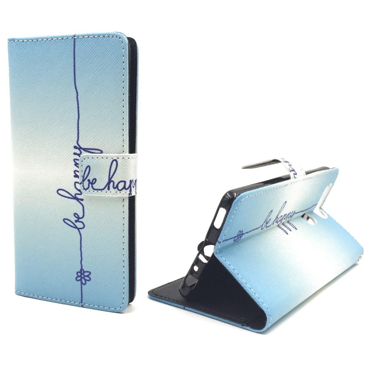 Handyhülle Tasche für Handy Huawei P9 Schriftzug Be Happy Blau