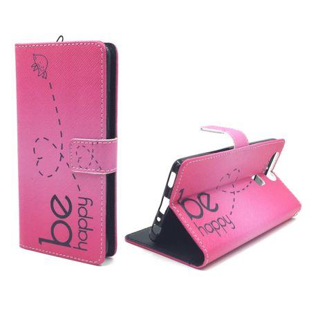 Handyhülle Tasche für Handy Huawei P9 Be Happy Pink – Bild 1