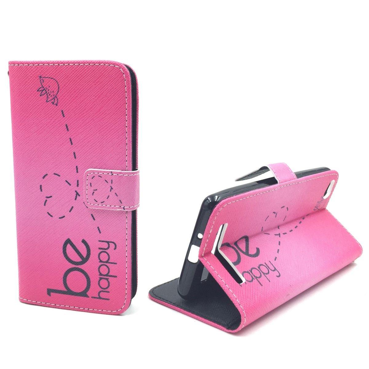 Handyhülle Tasche für Handy Xiaomi Redmi 3 Be Happy Pink