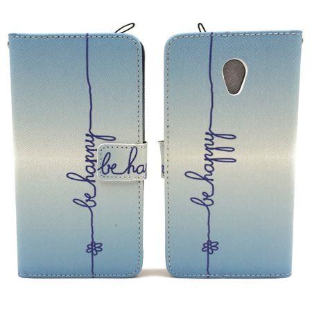 Handyhülle Tasche für Handy ZTE Blade V7 Schriftzug Be Happy Blau