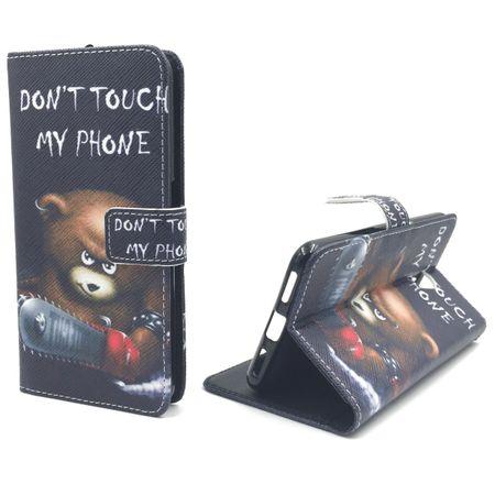 Handyhülle Tasche für Handy ZTE Blade V7 Schriftzug Bär mit Kettensäge – Bild 4
