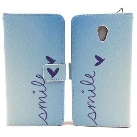 Handyhülle Tasche für Handy ZTE Blade V7 Schriftzug Smile Blau – Bild 6