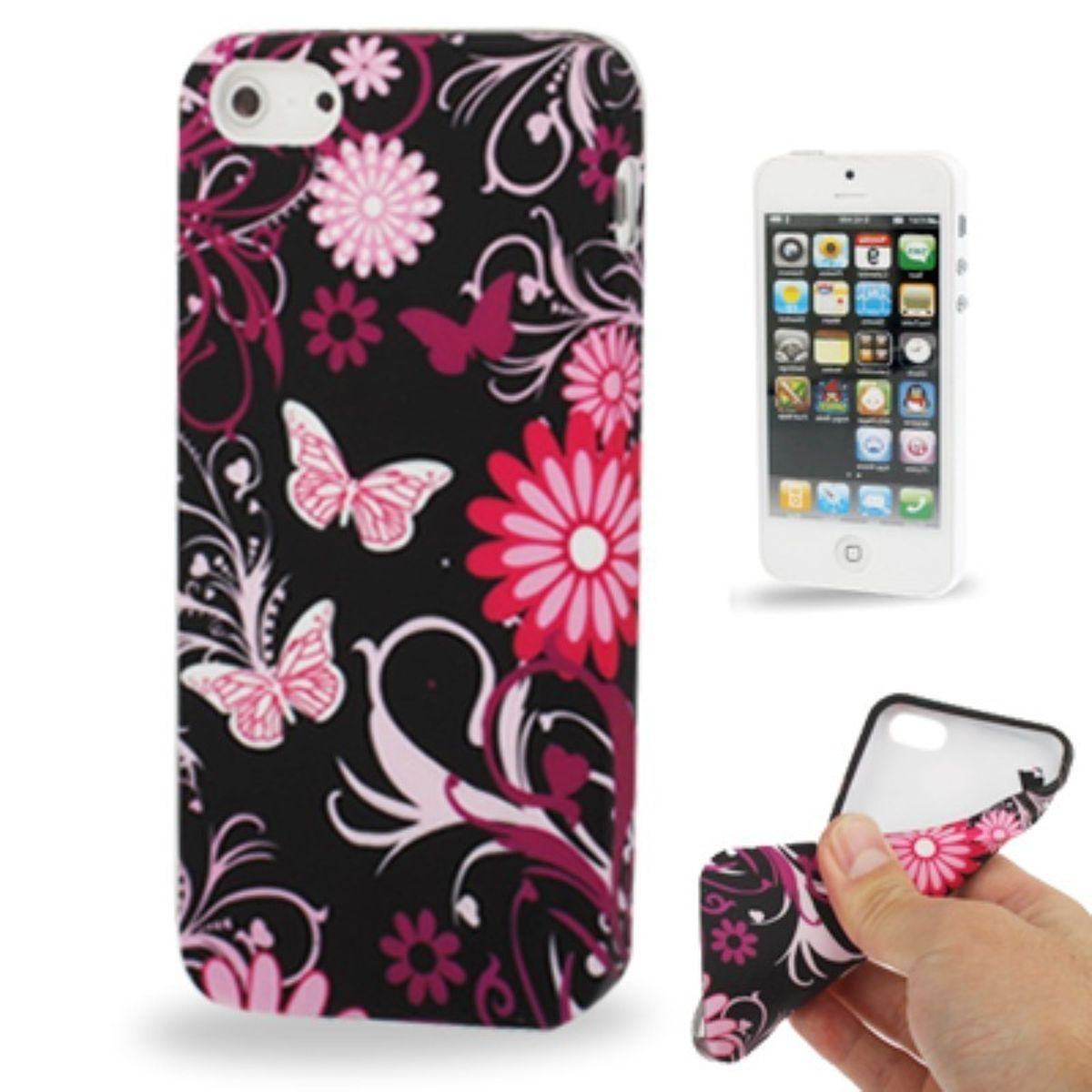 TPU Backcover Hülle für Handy Apple iPhone SE Schmetterling Pink