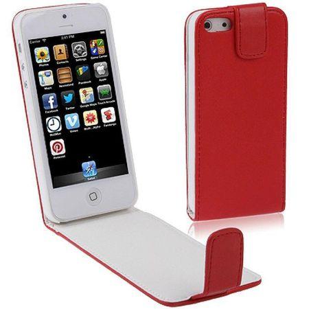 Handy Tasche Flip dünn für Handy iPhone SE Rot