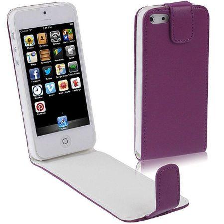 Handy Tasche Flip dünn für Handy iPhone SE Lila