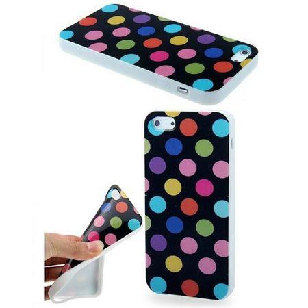 TPU Backcover Hülle gepunktet für Handy Apple iPhone SE Schwarz mit bunten Punkten