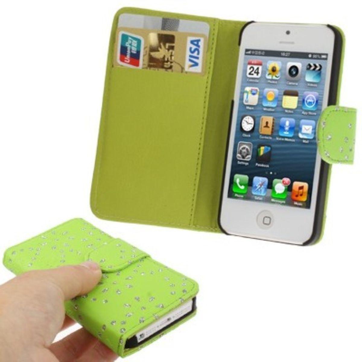 schutzh lle flip quer f r handy apple iphone se gr n. Black Bedroom Furniture Sets. Home Design Ideas