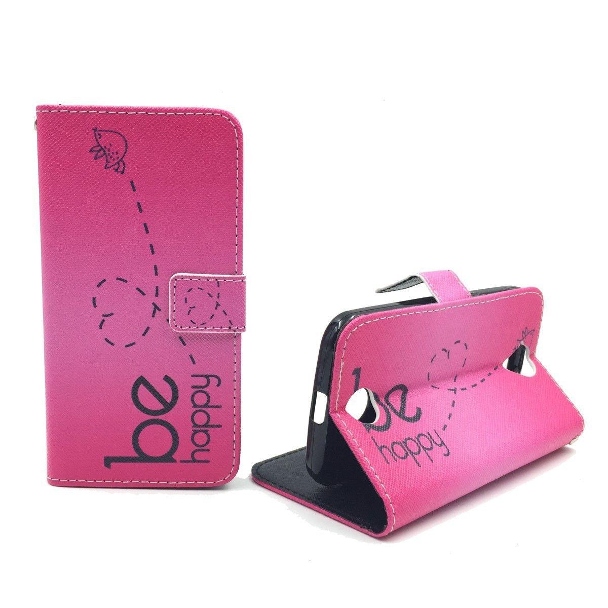 Handyhülle Tasche für Handy Apple iPhone SE Be Happy Pink