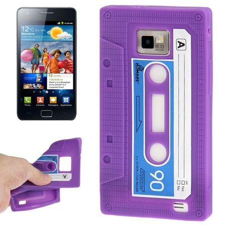Silikon Hülle Retro Kassette für Samsung Galaxy S2 i9100 lila