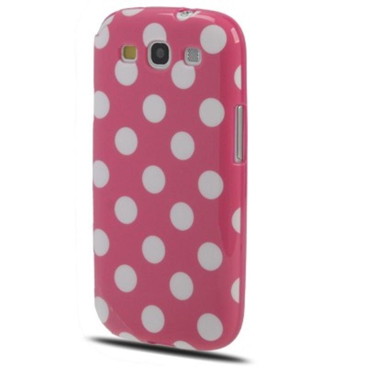 Schutzhülle TPU Case für Handy Samsung I9300 Galaxy S3 Rosa / Weiss