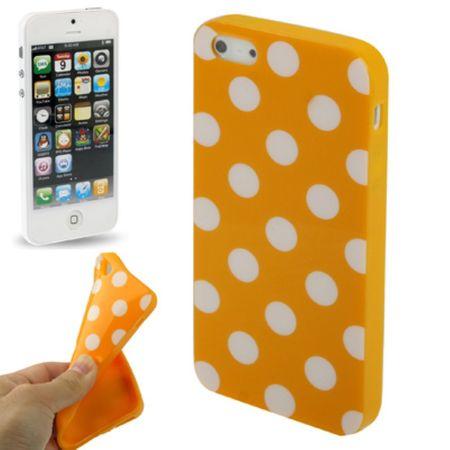 TPU Backcover Hülle gepunktet für Handy Apple iPhone 5 & 5s Orange / Weiß