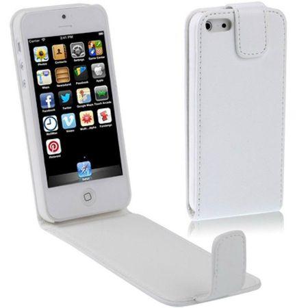 Handy Tasche Flip dünn für Handy iPhone 5 & 5s Weiß