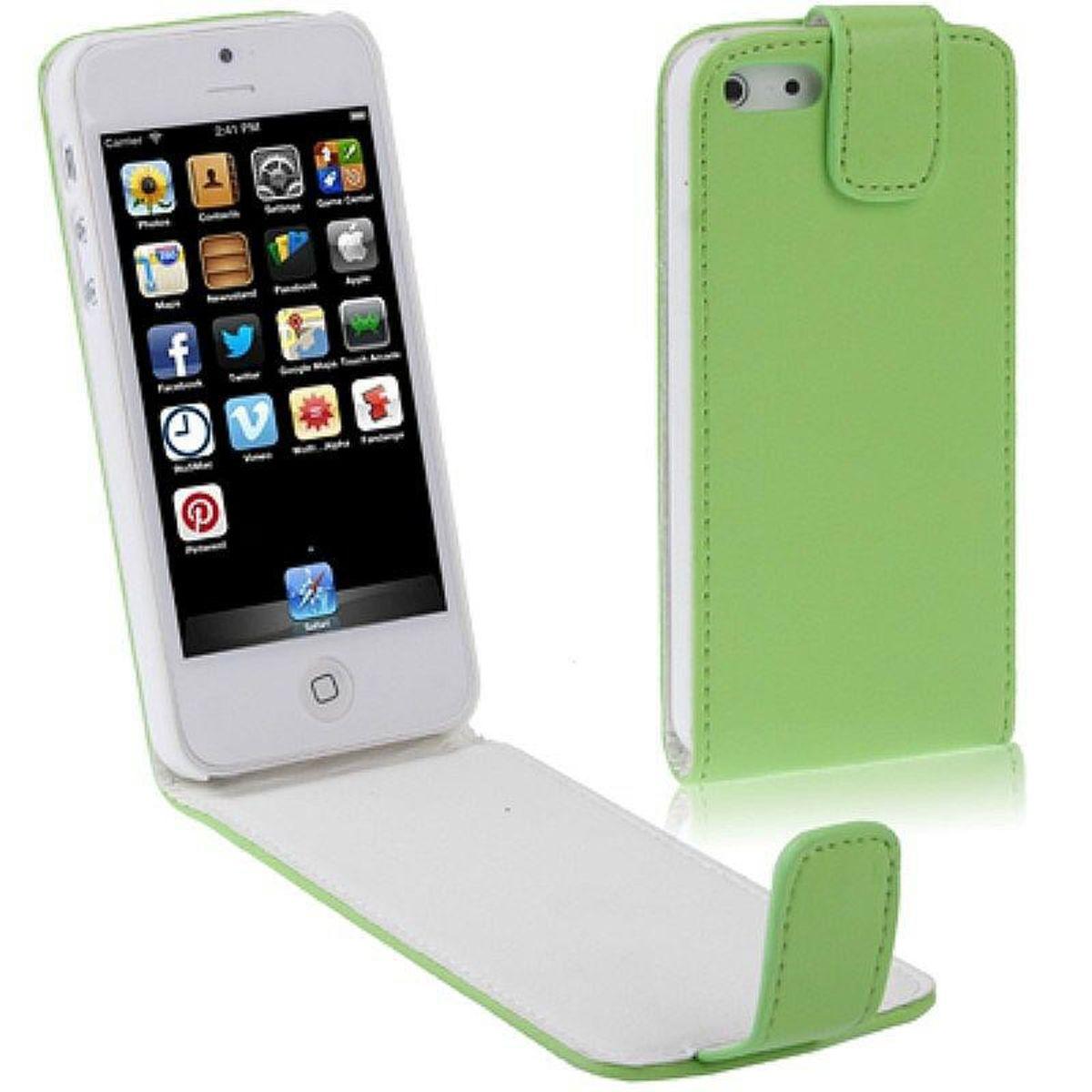 Handy Tasche Flip dünn für Handy iPhone 5 / 5s Grün