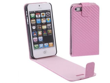 Handy Tasche Flip dünn Carbon look für Handy iPhone 5 & 5s Pink