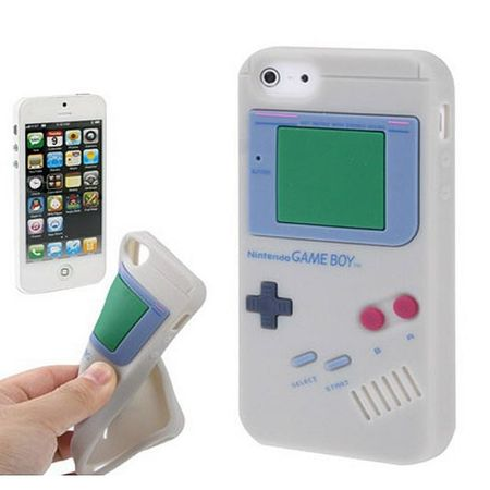 Silikon Hülle Gameboy für Handy iPhone 5 & 5s Grau