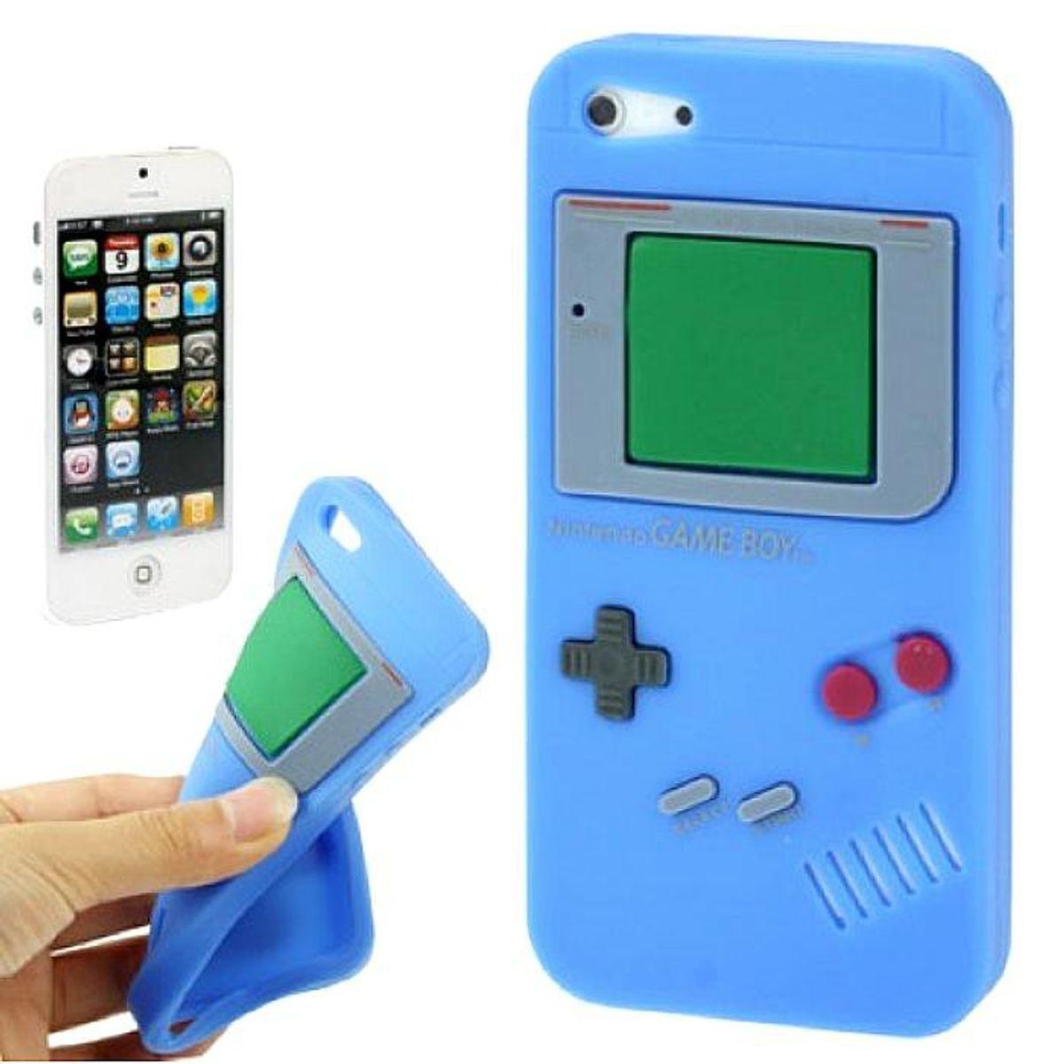 Silikon Hülle Retro Gameboy für Handy iPhone 5 / 5s Blau