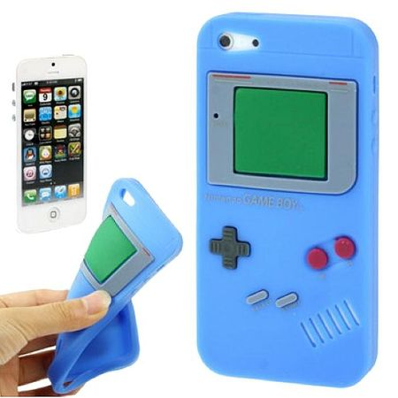 Silikon Hülle Retro Gameboy für Handy iPhone 5 & 5s Blau