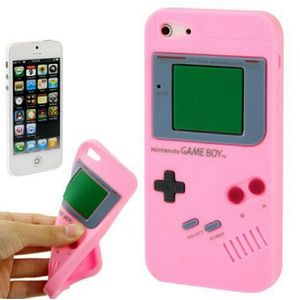 Silikon Hülle Retro Gameboy für Handy iPhone 5 & 5s Rosa