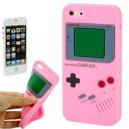Silikon Hülle Retro Gameboy für Handy iPhone 5 & 5s Rosa – Bild 1