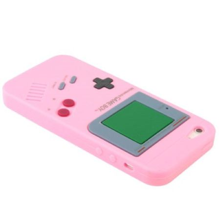 Silikon Hülle Retro Gameboy für Handy iPhone 5 & 5s Rosa – Bild 2
