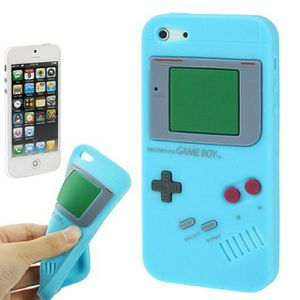 Silikon Hülle Retro Gameboy für Handy iPhone 5 & 5s Hellblau