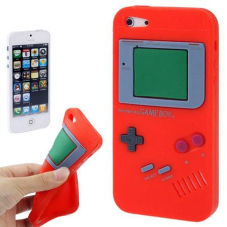 Silikon Hülle Retro Gameboy für Handy iPhone 5 & 5s Rot – Bild 1
