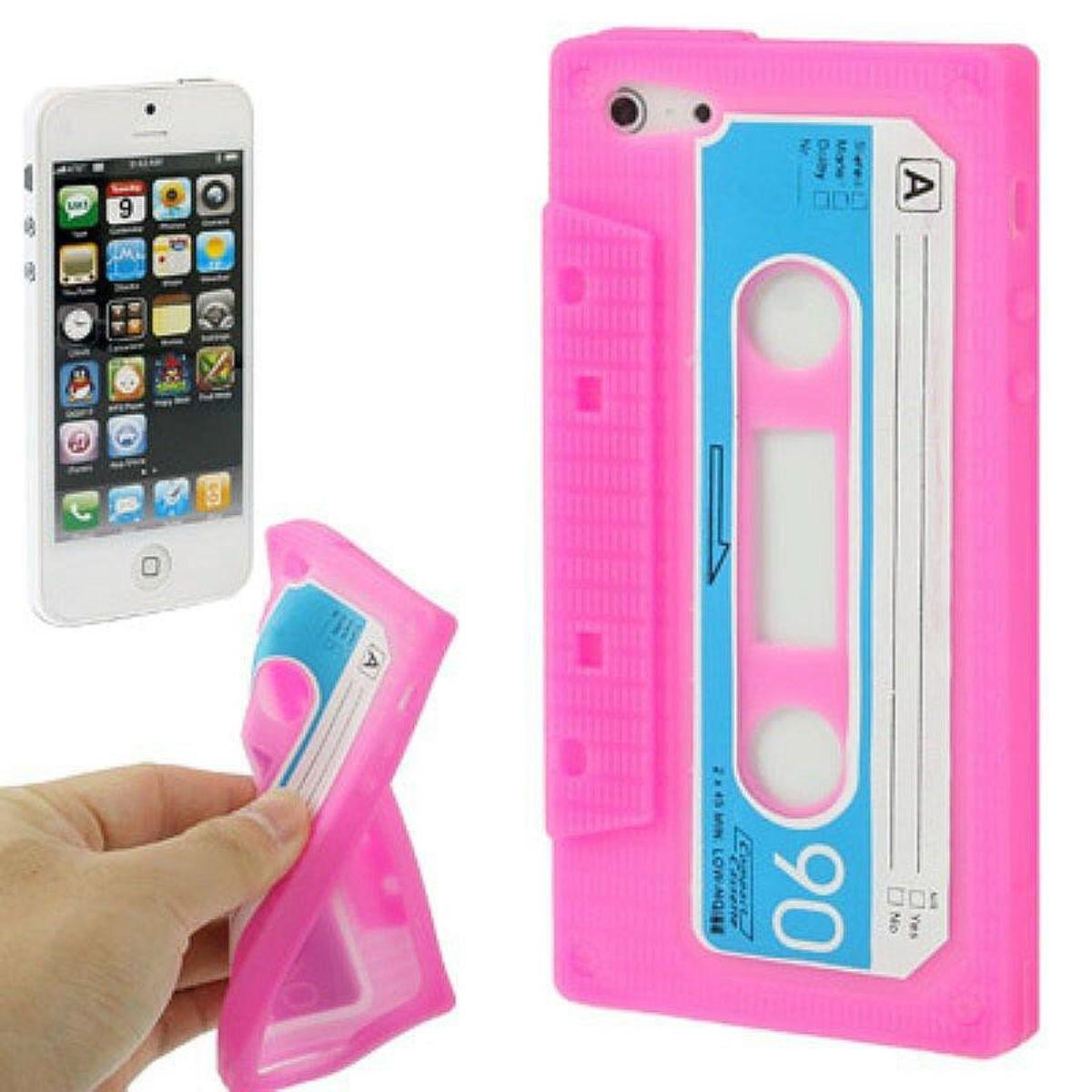 Silikon Hülle Retro Kassette für Handy iPhone 5 / 5s Pink